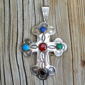 Vintage 925 Large Ornate Gemstone Cross Pendant